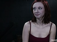 Redhead Sabrina Sparx in miniskirt and high heel shoes about her BDSM experience.