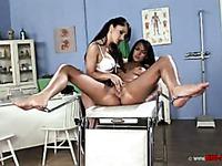 Naked graceful brunette Indira Popov spreads her legs for very curious lez doctor Lea Lexus