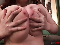 Chubby Emily Cartwright shows off her killer breasts and kisses Mellie D