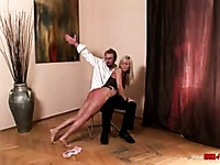 Four-eyed man has a good time spanking bare ass of leggy doll Helena Sweet