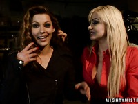 Lesbo domina Lea Lexus in red blouse admires every inch of Cindy Hope's nude body