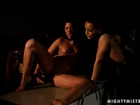 Tight bodied nude brunette Madison Parker gets dominated by Sabrina Sweet in the dark