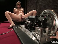 Fucking machine has enough power to satisfy hot shaved pussied babe Flower Tucci