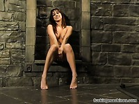 Giggling brunette Nadia Styles gives interview in her birthday suit after extreme fetish session.