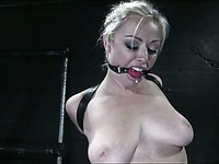 Ball gagged bound blonde Adrianna Nicole gets her nipples tortured with vacuum pumps