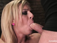 Slave blonde Ahryan Astyn gets her perfect big tits caned and blows her master