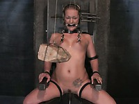 Master looks for more ways to punish blonde haired slave girl Sara Faye