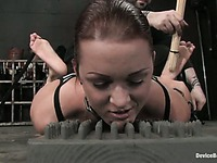 Sara Faye gives a close-up of her nipples and hairy snatch in a moment of torture
