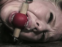 Enslaved blonde haired chick Sarah Jane Ceylon getting punished in the dungeon