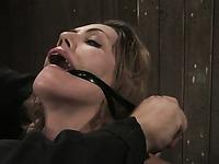 Smooth skinned slender girl Sarah Shevon gets punished in tight metal restraints