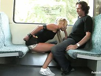 Obedient blonde Carla Cox with tied hands gives public blowjob in a train