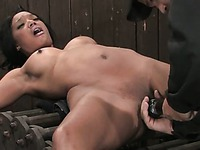 Helpless black babe Kapri Styles with arched back gets her mouth filled with white cock