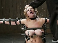 Katie Kox can't help but howl as the tit torture she experiences is wild