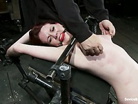 Helpless girl Lilla Katt gets caned from top to toe before nipple torture