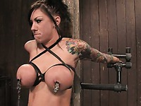Mason Moore gets her great tits tied and clamped before master uses two vibrators