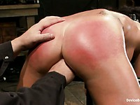 Tattooed bound slave girl Micah Moore gets her perfect apple ass spanked