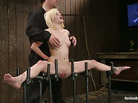 Black haired domina Princess Donna punishes two slave blondes face to face