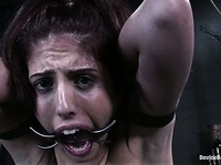 Breasty slave girl Lavender Rayne gets her armpit area tortured with clamps and whipped