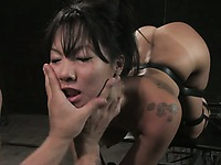 Asian slave girl Asa Akira gets her sledner exotic body explored and punished by Mr. Pete
