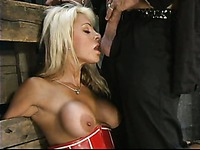 Big meloned milf blonde Stacy Burke gets tied to bed and banged from behind