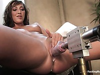 Perky boobed Angelica Saige gets her shaved pussy used by Hammer, Drilldo and Sybian