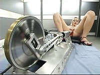 Blonde Annette Schwarz with slim body and tight holes gets heavily fucked by fucking machines
