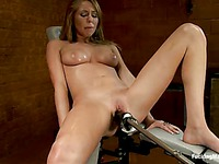 Naked beauty Brynn Tyler with adorable body parts her legs to be banged by fucking machine