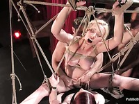 Horny guy and mistress Claire Adams are ravishing Samantha Sin on the love swing