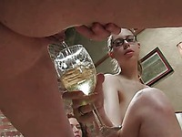Horny sluts Amber Keen, Kristine Kink and Rita Seagrave pee in the glass then pour and drink it