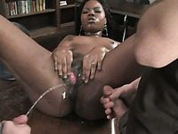Sultry Asian Annie Cruz pisses all over her chocolate skinned partner Coffee Brown