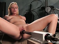 Naked blonde Lacey Jane with natural tits and hairless pussy gets drilled by dildo machine
