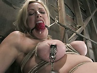 Slave blonde Adrianna Nicole with big bound boobs gets her pussy tortured with hook and rope