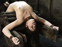 Naked tied girl Faith Leon gets on her knees in front of master to chew his cock
