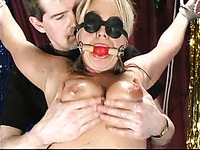Slave girl Girlie in black mask gets her naked sexy body bound by kinky man