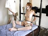 Tight bodied redhead slave Ivy Red gets her firm bare ass seriously whipped