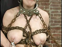 Chain bound Mallory Knots with huge tits and juicy shaved cunt get a punishment