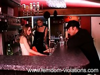 Hally Thomas and Domina Hera get the femdom session started in a local bar