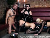 A blonde, a brunette and a skinny man make love for Lady Nicole to watch