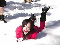 Slave girls Nina, Dia Zerva, Kristine and Amber Keen get punished in snow and by the fireplace