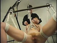 Rope master spanks naked tied up Sadie Belle on her sexy bare ass before suspension