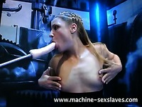 Haija gets her mouth and smooth tight pussy dildo fucked hard by fucking machine