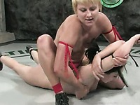 Stronger blonde wrestler Vendetta takes care of Alexa Von Tess helpless pussy