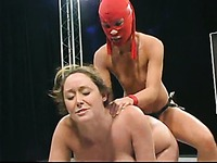 Curvy big titted Christina Carter is weaker than an aggressive red mask Crimson Ninja