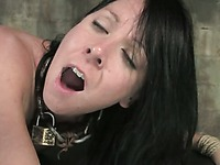 Obedient dark haired slave girl Julie Night takes care of two lucky cocks