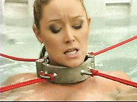 Big meloned slave milf Christina Carter has water bondage experience in jacuzzi