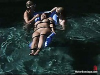 Juicy titted asian slave girl Dragon Lily gets bound and abused in the backyard