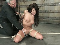 Master uses high pressure shower and big glass water tank to punish Gina Caruso