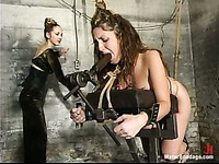 Water bondage experience of sexy juicy titted slave brunette Isabella Soprano