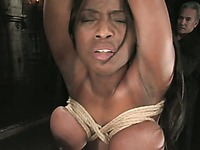 Juicy titted chocolate skinned slave woman Jada Fire gets tied before dunking
