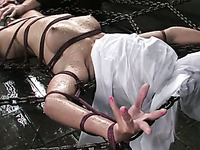 Oriental girl Keeani Lei gets her helpless nude body punished hard with water